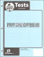 BJU Press Pre-Algebra Tests Answer Key - 233106