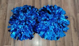 1 pair Blue Metalic High School Cheerleading Pom Poms shed