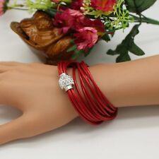 Soft Rouge Cuir Amitié Bracelet Multi Couche Magnétique Perle Bangle Bracelet