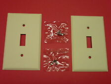 2 NOS! BELL SINGLE GANG IVORY CRACKLE FINISH WALL TOGGLE SWITCH PLATES