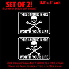 "Skull Not Worth Life Setof2 Stickers Decals (8"" x 5.5"")"