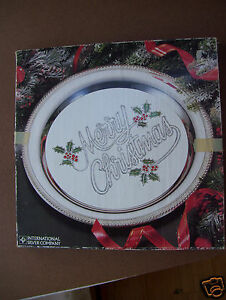 International Silver Company Merry  ChristmasTray  Silverplated Hand Painted NIB