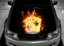 Four Aces Flame Full Color Graphics Adhesive Vinyl Sticker Fit any Car Hood #035
