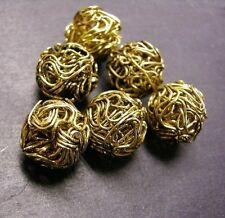6pc 14mm antique gold metal wired beads-3173