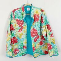 Alfred Dunner Quilted Lightweight Reversible Jacket Floral Size 14 Multi Colored