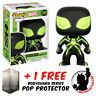 FUNKO POP MARVEL SPIDER-MAN STEALTH SUIT GLOW #195 EXCLUSIVE + POP PROTECTOR