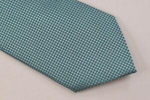 Giorgio Armani Neck Tie NWT Teal Blue and Yellow Checkered 100% Silk