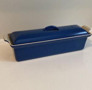 Le Creuset Blue  Enameled Cast Iron Terrine #32 Pate Loaf Pan Excellent Blue