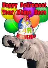 Elephant Happy Retirement Party Hat Card codeee Personalised Greetings