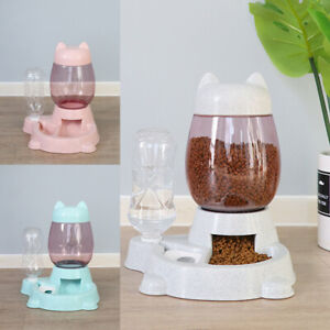 Automatic Dog Cat Food Bowl Feeder and Pet Water Fountain Drink Bottle Dispenser