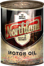 Distressed Aged Northland Motor Oil Can Steel Cutout Sign