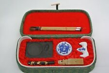 Chinese Calligraphy Ink Set 2 Brushes w/Holder, Chop,Ink Stick & Ink Stone