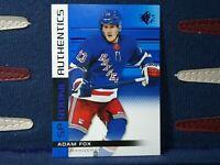 Adam Fox Rookie 2019 SP Authentics Blue #129 New York Rangers RC