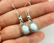 Pretty Blue larimar, Solid 925 Sterling Silver Dangle / Drop Earrings 116