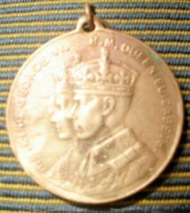 HUH OLD  MEDAL MEDALLION BRASS KING GEORGE QUEEN ELIZABETH 1937 CELEBRATIONS