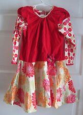 B. Baby Lulu Applique Floral Corduroy Long Sleeve 100% Cotton Dress Girls size 5