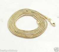 1.4mm Solid Round Snake Chain Necklace Real 14K Yellow Gold ALL LENGTHS