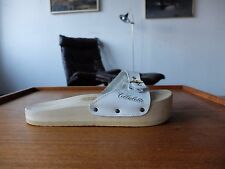 Cellulette TRUE VINTAGE Sandale Gr. 40 Badeschuhe Holz UK 6,5 Leder Made  Italy