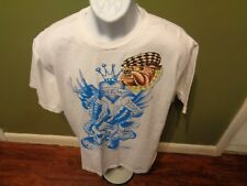 VTG ED HARDY NEW YORK CITY Cobra Bald Eagle Fight SKULL Mens T-shirt XL