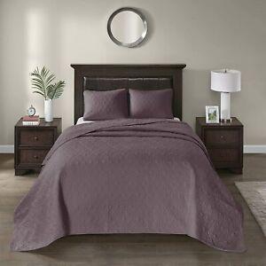 Madison Park Quebec 3-Piece King Quilted Bedspread Set Reversible Design Purple