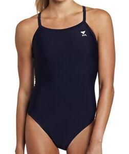 NWT TYR Sport Women's Solid Diamondback Swim Suit,Navy, Size 38
