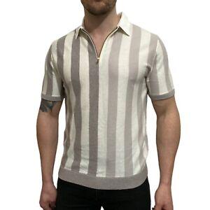 Reiss Marino Striped Wool Cotton Viscose Short Sleeve Zip Polo Shirt Size L 42