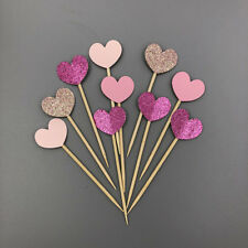 10pcs Glitter Pink Silver Heart Cupcake Toppers Food Picks Party Decor