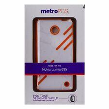 Metro PCS Hybrid Two Tone Shield Case for Nokia Lumia 635 - White / Orange