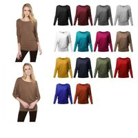 FashionOutfit Women Casual Solid Boat Neck Long Dolman Sleeve Top - MADE in USA