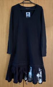 NWT French Designer DP Jeans (by Didier Parakian) Black knit dress Size 44