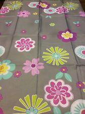 Retro Flowers Shower Curtain Fabric Multi-Colors On Gray NIP