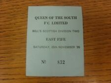 25/11/1995 Ticket: Queen Of The South v East Fife  (light folds).  Thanks for vi