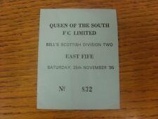 25/11/1995 BIGLIETTO: la regina del Sud V EAST Fife (leggero si piega). grazie per vi