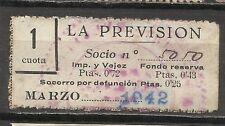 1774-SELLO ESPAÑA CUOTA LA PREVISION OBRERA EN CATALAN Y CASTELLANO,1942