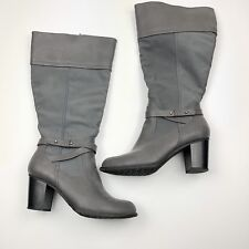 White Mountain Sapphire Boots Womens 9.5 Wide Gray Vegan Leather Tall Zip Straps