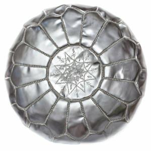 Handmade Faux leather Moroccan silver pouffe - unstuffed