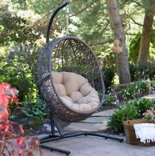 Hanging Patio Chair Outdoor Furniture Egg Resin Cushion Deck Stand Swing Seat