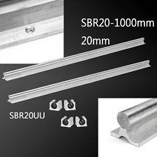 2x SBR20-1000mm 20mm Rail + 4x SBR20UU Slide Block Linear Bearing Guide CNC