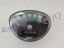 VESPA SPEEDOMETER BLACK DIAL 0-120 KMPH PRIMAVERA / RALLY BRAND NEW