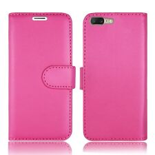 Plain Pink Leather Wallet Book Protect Phone Case for Apple iPhone 4 5 6 7 8 & X One Plus One Plus 3