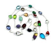 Gemstone Silver Plated Long Chain Green Emerald & Multi Quartz