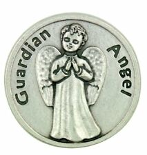 """""""Protect Me Wherever I Go"""" Silver Tone Guardian Angel Pocket Token with Prayer"""