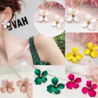 Trendy Pop Fashion Boho Painting Big Flowers Ear Stud Earrings Women Jewelry
