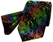 Black Paisley Tie NEW Multi Green Blue Orange Silk FREE Hanky Set pr16