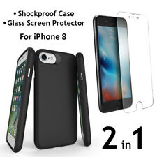 iPhone 8 PC+TPU Case and Glass Screen Protector - Shockproof Air Cushion 2 in 1