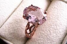 OVAL ROSE DE FRANCE AMETHYST 925 SILVER ROSE GOLD SOLITAIRE RING SZ P US 8