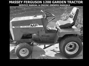 MASSEY FERGUSON 1200 GARDEN TRACTOR MANUALs w/ MF1200 Engine Service & Operation