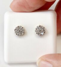 14K Yellow Gold 0.50 TCW Round Diamond Cluster Flower Stud Earrings Screw Back