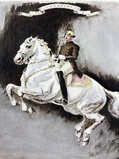 Dressage - Original Hand Colored Etching By István Benyovscky CA 1920, Lipizzan