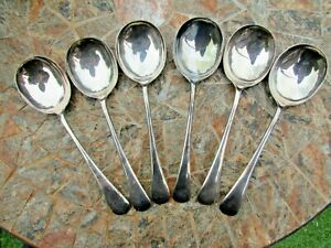 6 Antique S/P Large Soup Spoons by W Bros -Possibly Walker or Ward Brothers Good